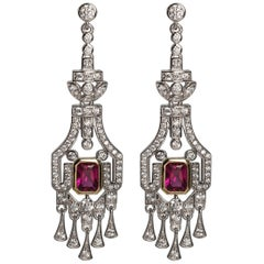 Synthetic Diamond Ruby Art Deco Revival Earrings