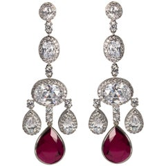 Faux Ruby Shimmering Girandole Chandelier Earrings