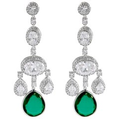 Synthetic  Diamond Emerald Girandole Chandelier Earring