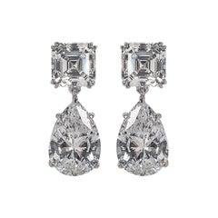 Cubic Zirconia Pear Shape  Drop Sterling Earrings