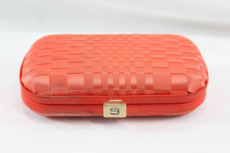 Vintage Corail Bottega Veneta Clutch with Crystal For Sale 1