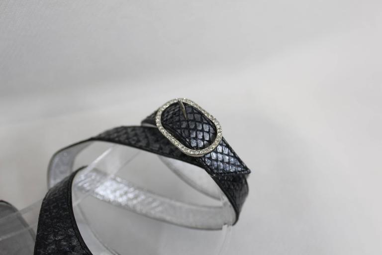 Chanel Silver Lezard Sandals. Size EU 38 2