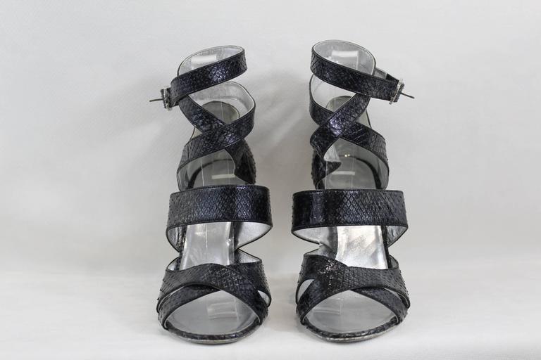 Chanel Silver Lezard Sandals. Size EU 38 For Sale 1