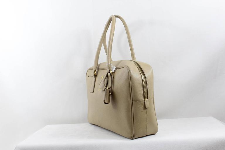 Prada Safiano Beige Leather Shoulder Bag 2
