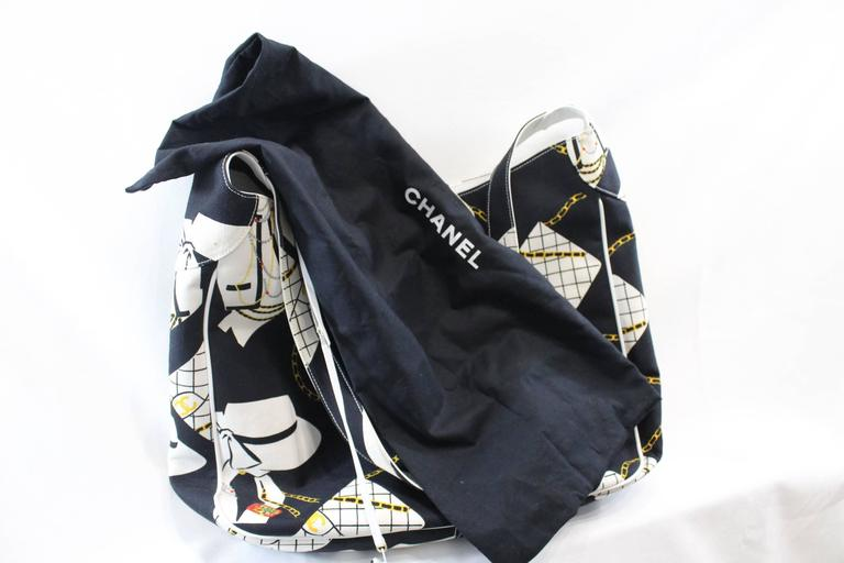 Vintage nearly 1989-90 Chanel Canvas and Leather XL Tote Bag 6