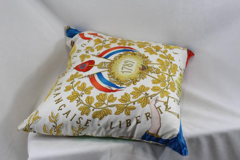 Hermes Silk Pillow French Republique At 1stdibs