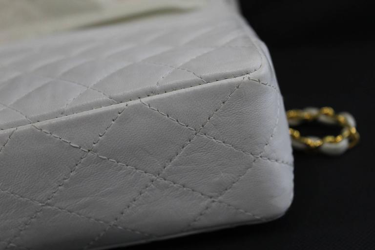 9ba10586455028 Gray Vintage 80's Chanel 2.55 Bag in White Letaher and Golden Hardware. size  10