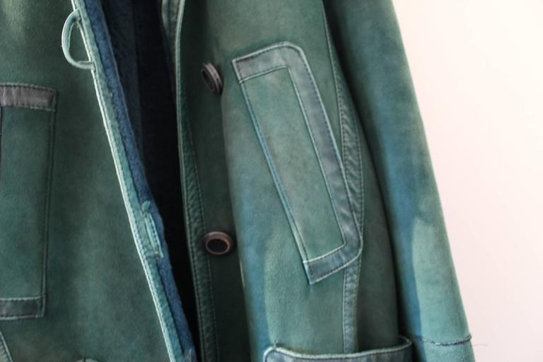 Christian Dior Vintage Green Leather Coat 4
