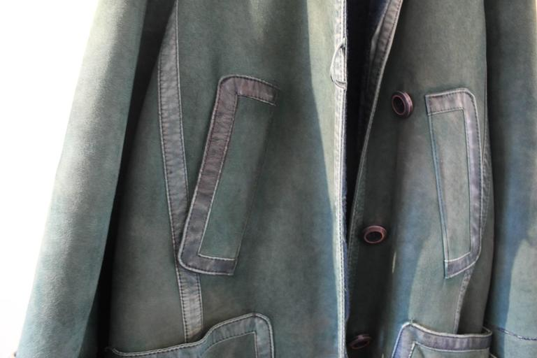 Christian Dior Vintage Green Leather Coat 5