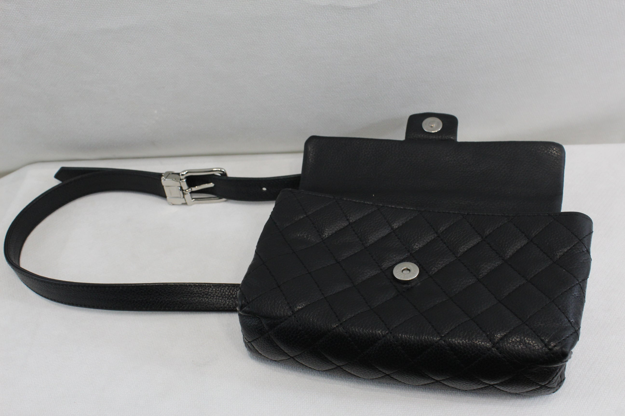 d07e22fd9109 Chanel Uniform Belt Bag in Black Caviar Leather at 1stdibs
