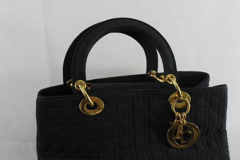 Black Vintage Nylon Lady Dior Tote Bag For Sale