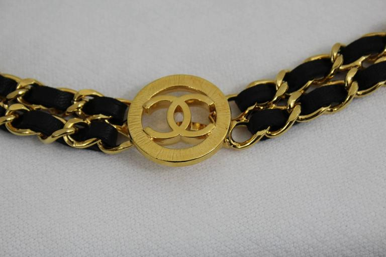Vintage Chanel  Golden metal and Black Leather Chain Belt 2