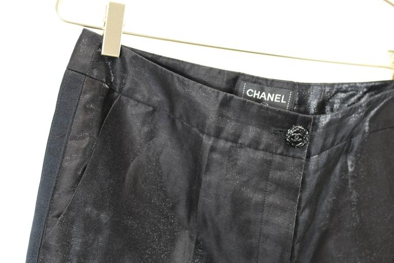 Black Chanel 2009 Cruise Collection Smokin Style Shiny Trousers For Sale