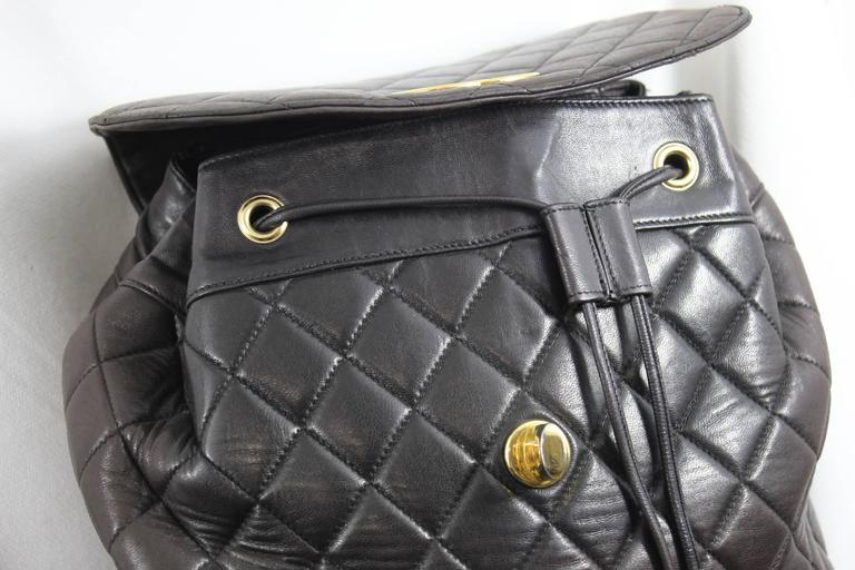Chanel Vintage Brown leather Backpack 8