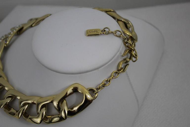 Women's Vintage Yves Saint Laurent Jewlery Set in GOld Plated Metal For Sale