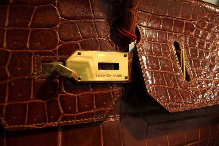 1993 Hermes Travel XXL Birkin Bag / Haut à Courroies in Brown Cognac Crocodile In Good Condition For Sale In Paris, FR