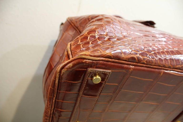 1993 Hermes Travel XXL Birkin Bag / Haut à Courroies in Brown Cognac Crocodile For Sale 1
