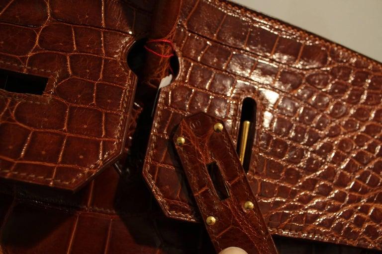 1993 Hermes Travel XXL Birkin Bag / Haut à Courroies in Brown Cognac Crocodile For Sale 2
