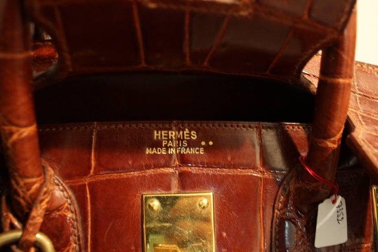 1993 Hermes Travel XXL Birkin Bag / Haut à Courroies in Brown Cognac Crocodile For Sale 3