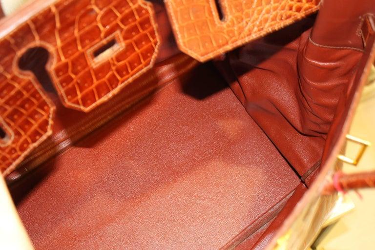 1993 Hermes Travel XXL Birkin Bag / Haut à Courroies in Brown Cognac Crocodile For Sale 6