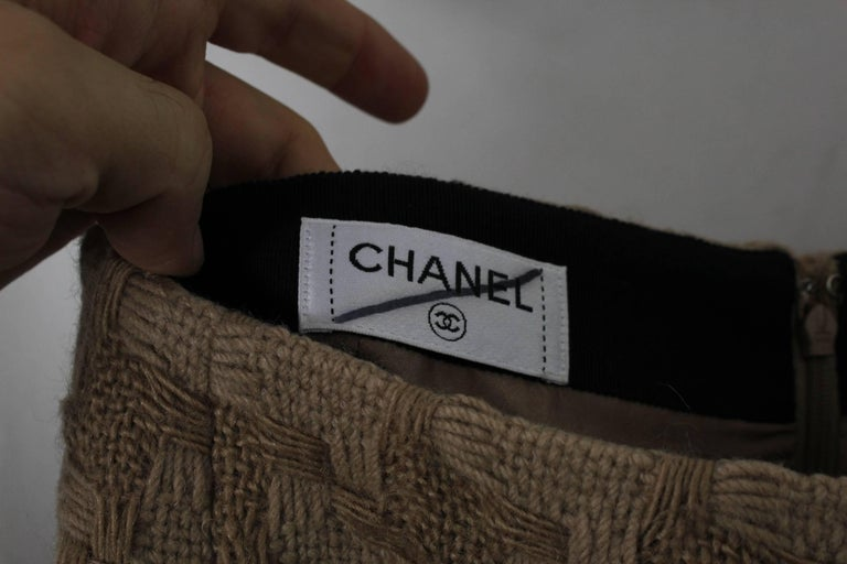 Women's or Men's Chanel Brown Wool Skirt For Sale