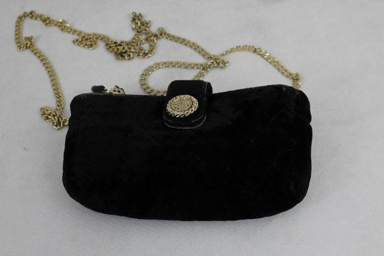 Black Chanel Vintage Micro Velvet Bag For Sale