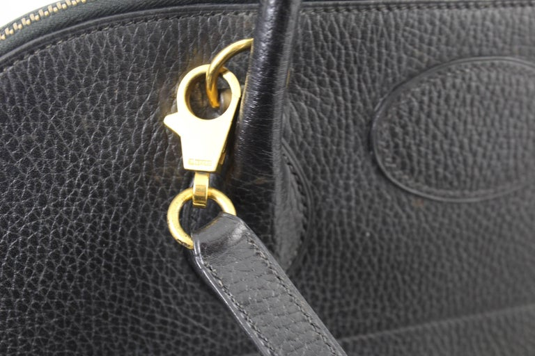 Hermes Vache Ardenne Black Bolide 36  Bag with Strap  In Good Condition For Sale In Paris, FR