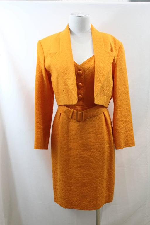 Balenciaga Dress, Jacket and Belt. Orange  Croco Pattern. Size EU 40 3