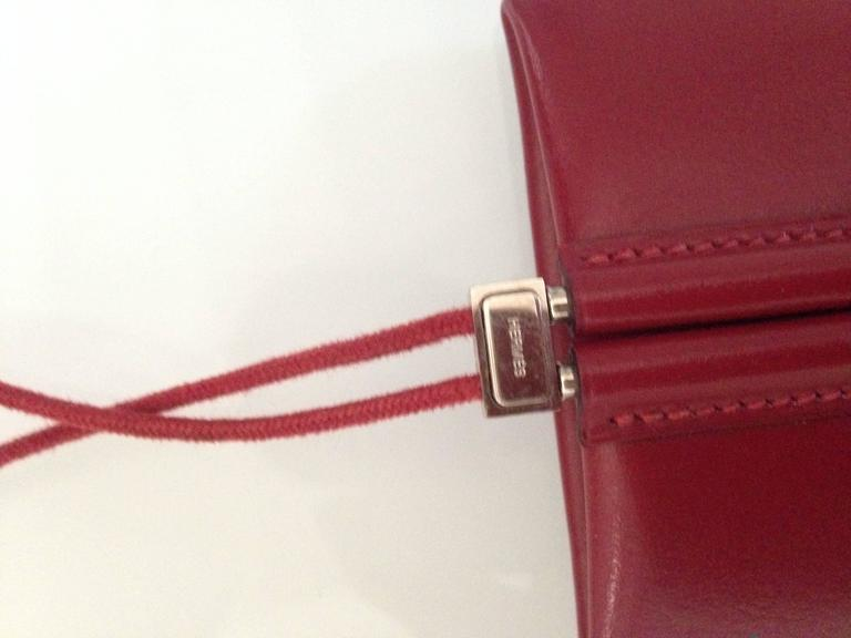 Lovely Hermes Necklace / Coinholder in Red Burgundy Box Leather 2