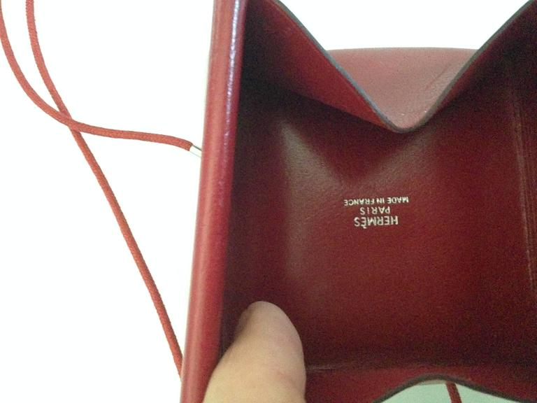 Lovely Hermes Necklace / Coinholder in Red Burgundy Box Leather 3