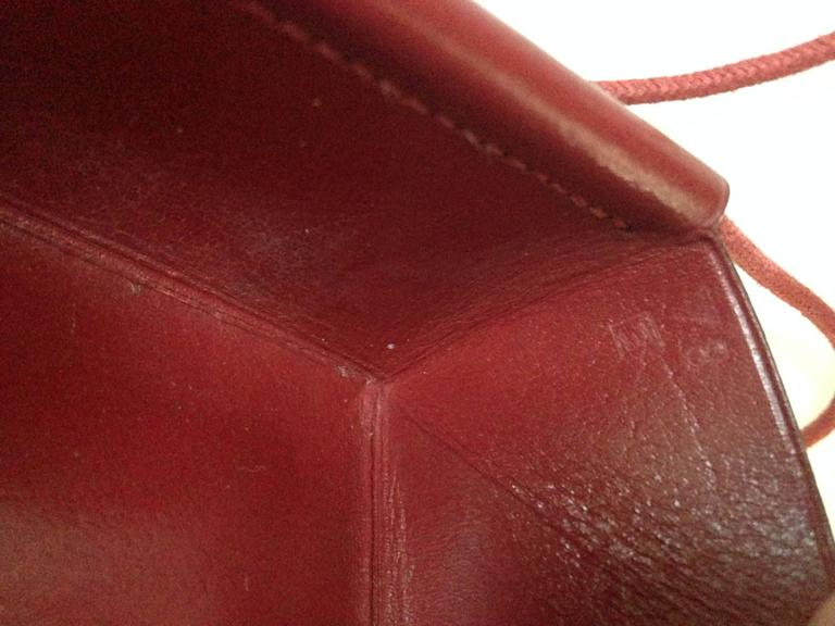 Lovely Hermes Necklace / Coinholder in Red Burgundy Box Leather 4