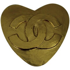 Nice Vintage Chanel Gold Plated Heart Double CC Brooch