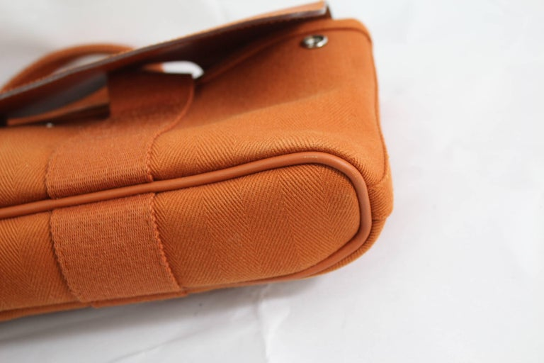 Hermes Mini Valparaiso Orange  Canvas and Leather Bag In Excellent Condition For Sale In Paris, FR