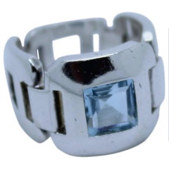 Hermes Silver Ring with Aquamarine S.52