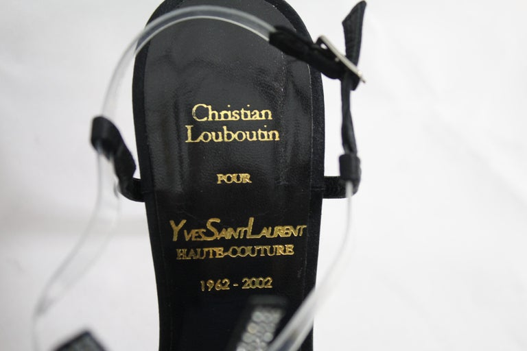 Black Haute Couture Christian Louboutin for Yves saint Laurent Shoes. Size 35 For Sale