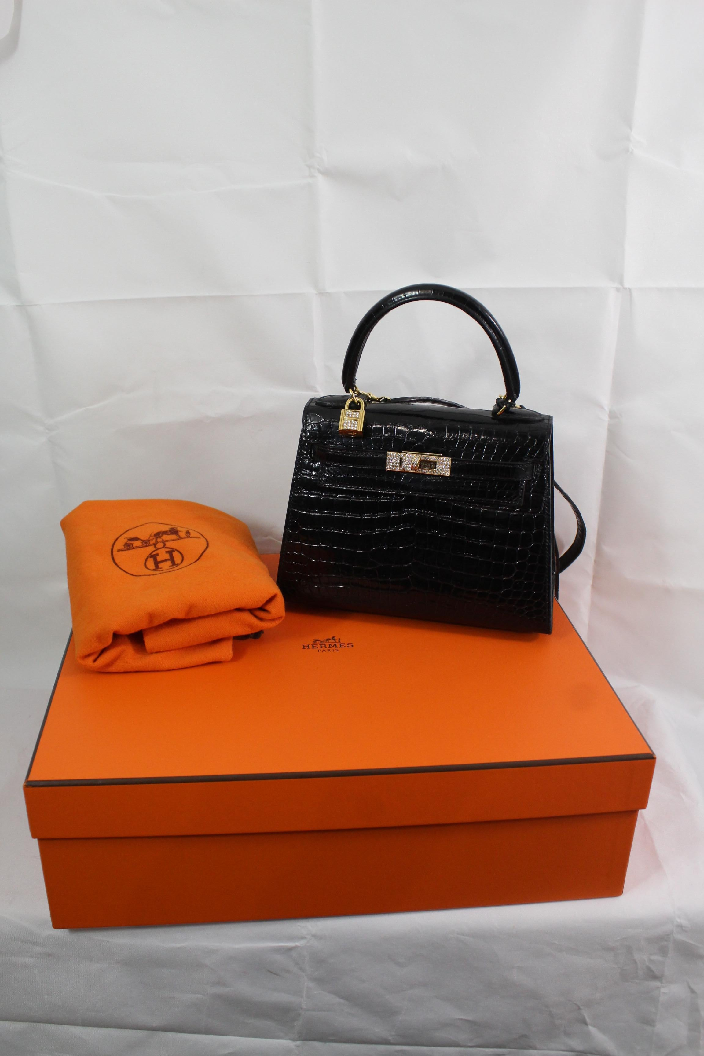 bed0e7542f ... uk one of a kind hermes kelly 20 black crocodile 18k gold hardware and  diamonds for