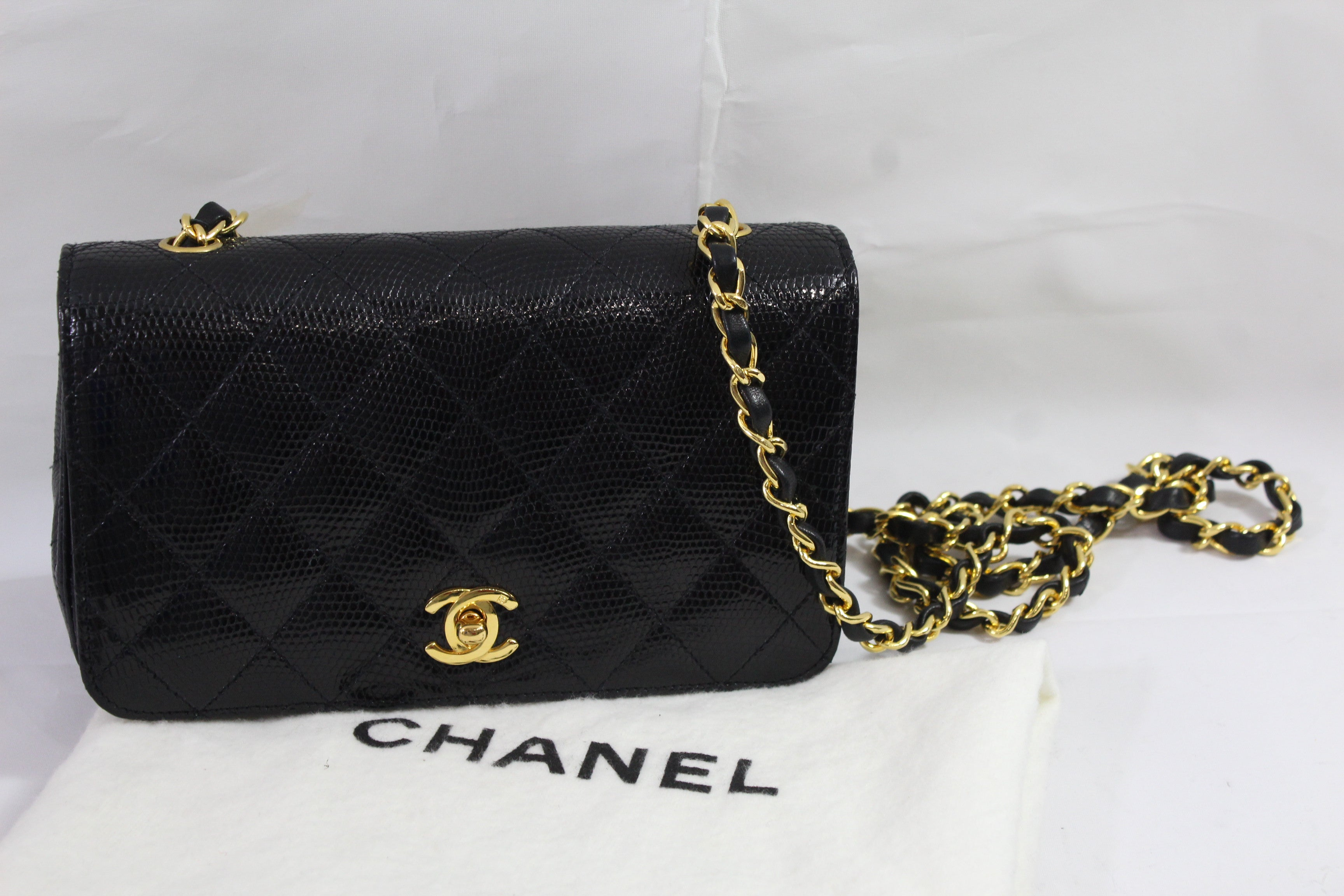 8b3eb310a122da Black Chanel Mini 20 cm Lezard Bag with Golden Hardware at 1stdibs
