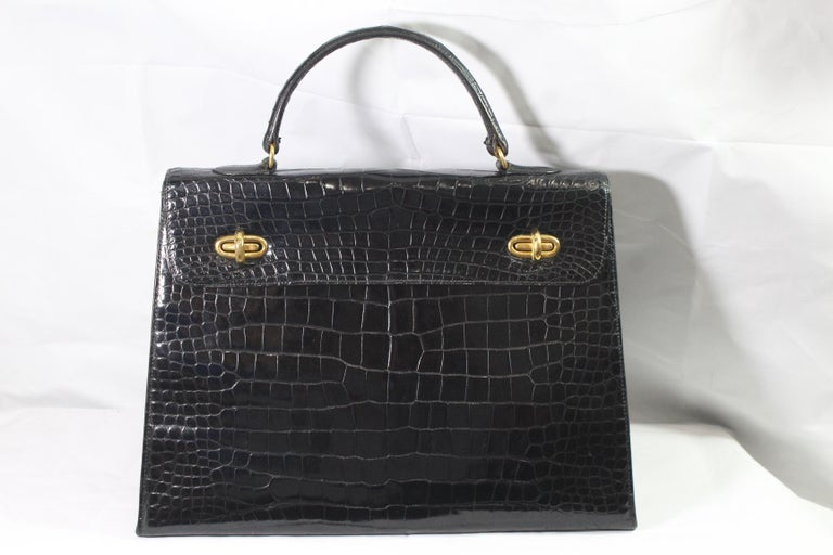 Hermes Vintage Kelly Style Black Crocodile Sellier Bag 35 For Sale. Nice 60 s  Hermes Vintage Bag in ... b18a624f68