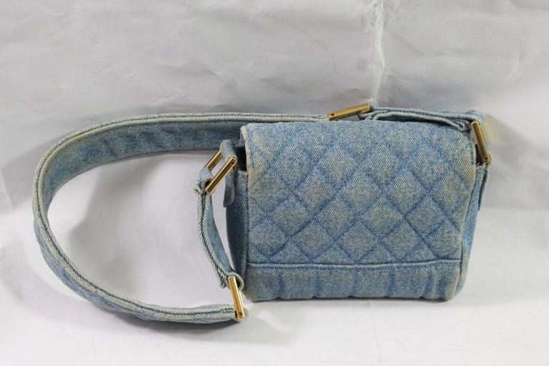 59c5da08dcefe1 Women's or Men's Vintage 1991 Chanel Mini Nano Shoulder Bag in Blue denim  For Sale