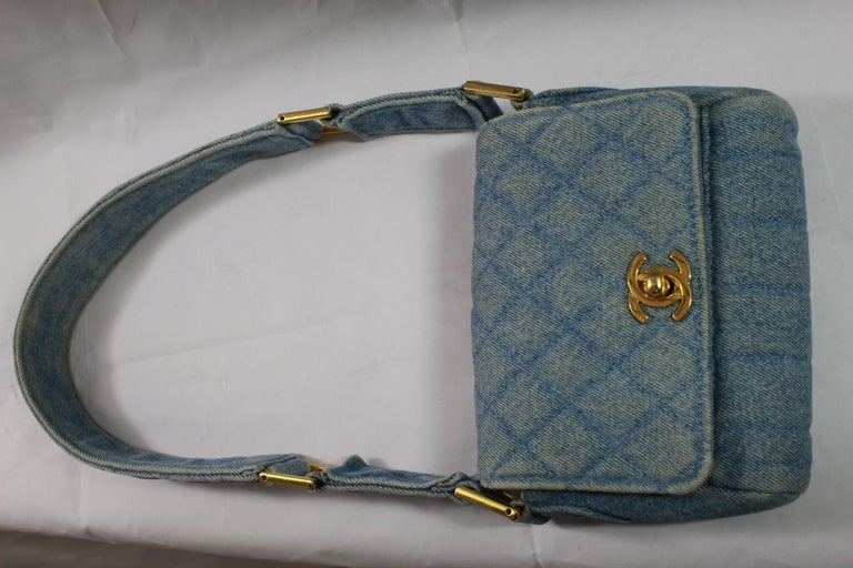 9ce5ef98fa9fa1 Vintage 1991 Chanel Mini Nano Shoulder Bag in Blue denim For Sale 5