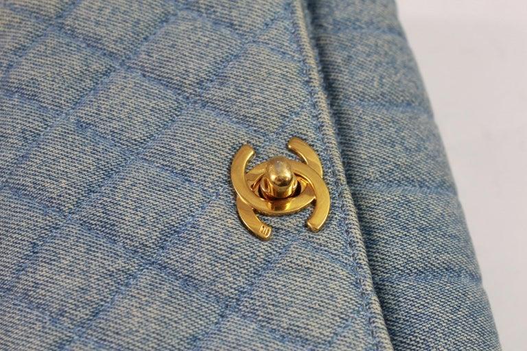 05f56ead9b0f4b Vintage 1991 Chanel Mini Nano Shoulder Bag in Blue denim For Sale 6
