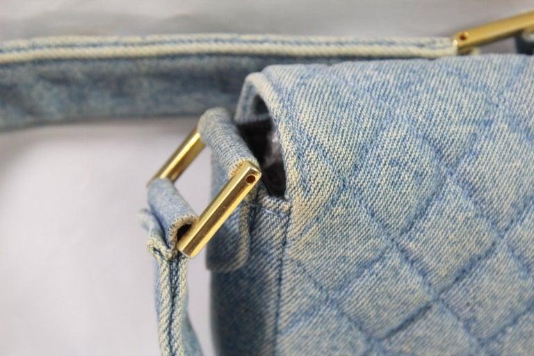 47d6caf77ee265 Vintage 1991 Chanel Mini Nano Shoulder Bag in Blue denim For Sale 1