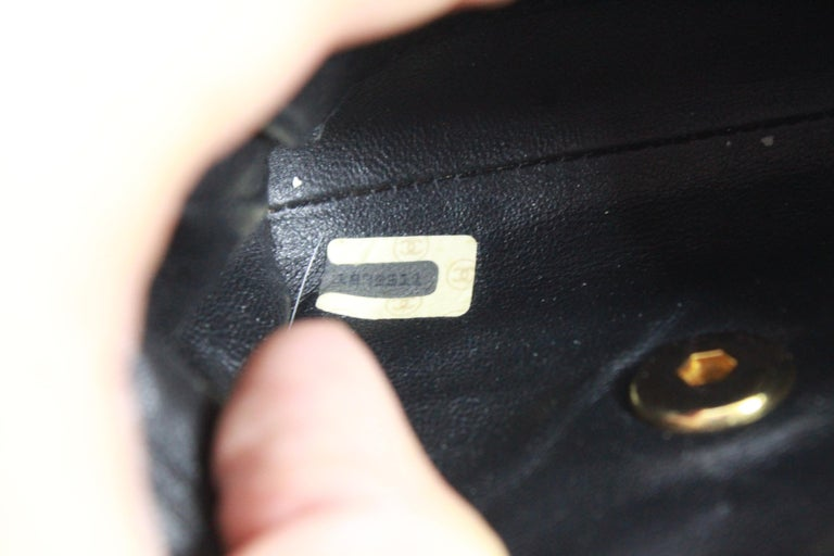 944bad018b74ec Vintage 1991 Chanel Mini Nano Shoulder Bag in Blue denim For Sale 3