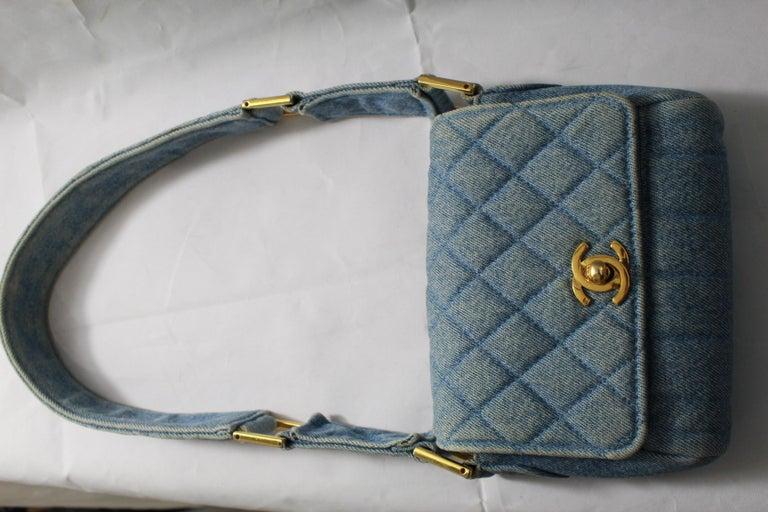 34ab710f2fab2c Vintage 1991 Chanel Mini Nano Shoulder Bag in Blue denim For Sale 4