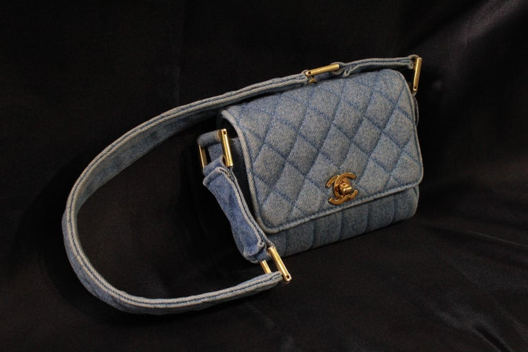 fd81f0e7c9f384 Vintage 1991 Chanel Mini Nano Shoulder Bag in Blue denim For Sale. 1996 Vintage  Chanel jean WOC with crossbody chain. Good vintage condition but shows some  ...
