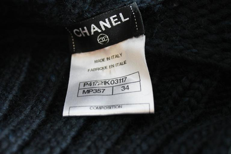 Chanel Navy Fold-Over Turtleneck Sweater 3
