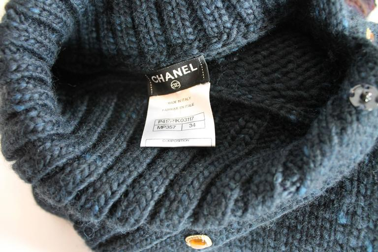 Chanel Navy Fold-Over Turtleneck Sweater 4