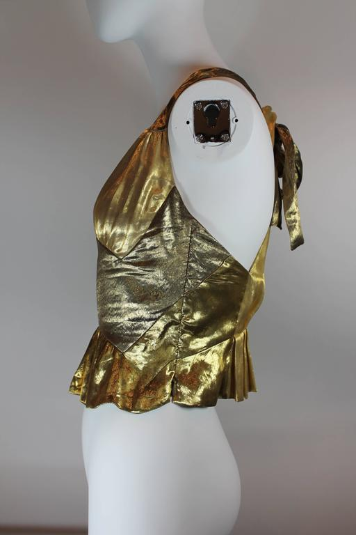 Brown Louis Vuitton Gold Lamé Halter Top For Sale