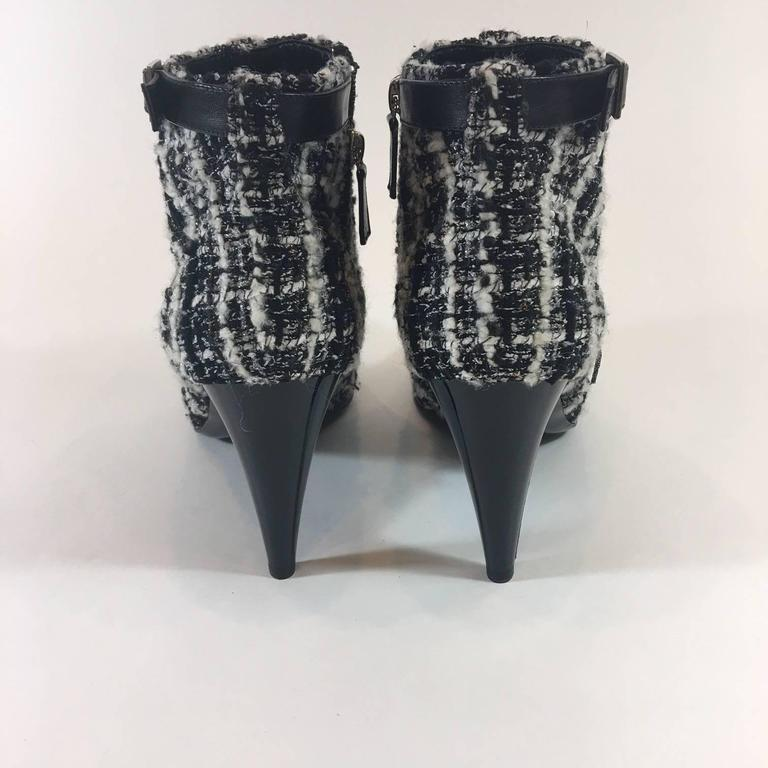 Black Chanel Tweed Boucle Ankle Boots For Sale
