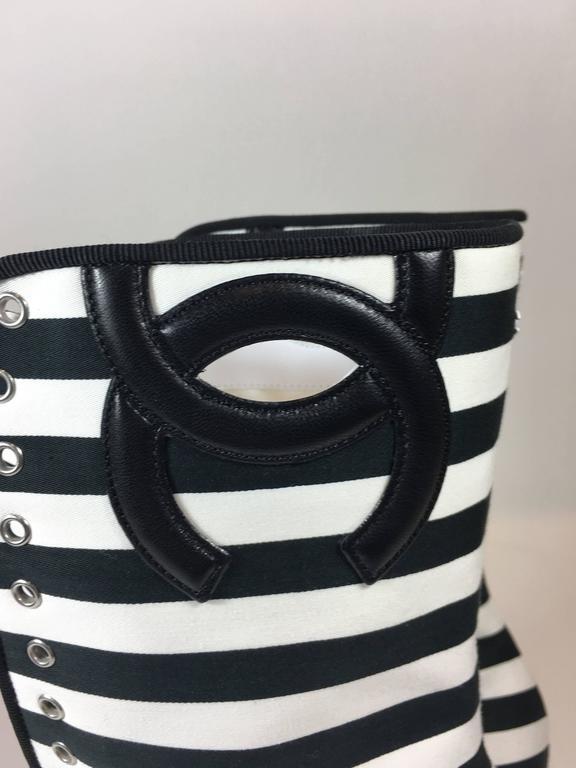 Chanel Lace-Up Black and White Wedges For Sale 1